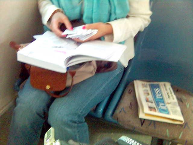 student sorting exam aids