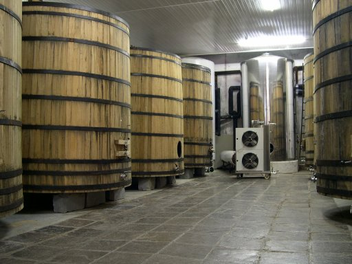 Oak barrels and a stainless vat