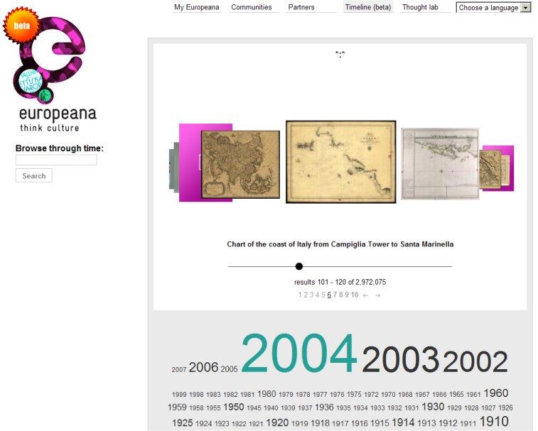 Europeana's flipping interface