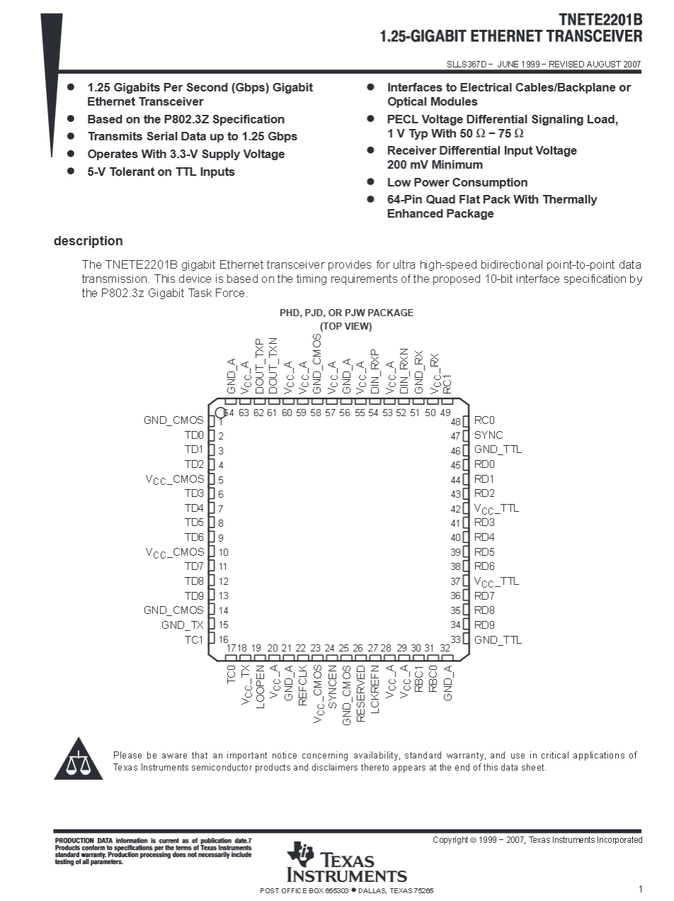 TNETE2201B data sheet