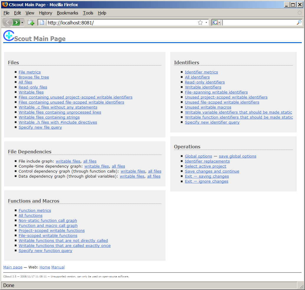 A screen dump of the CScout web interface.